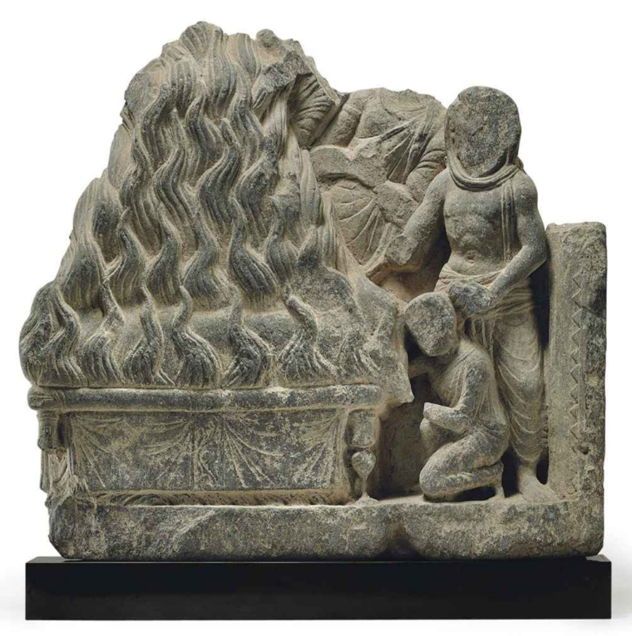 Buddha's cremation - gray schist relief from Gandhara, 2nd-3rd century