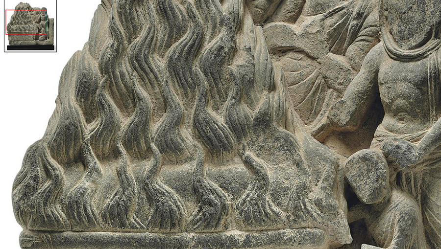 Buddha's cremation - gray schist relief from Gandhara, 2nd-3rd century - Detail