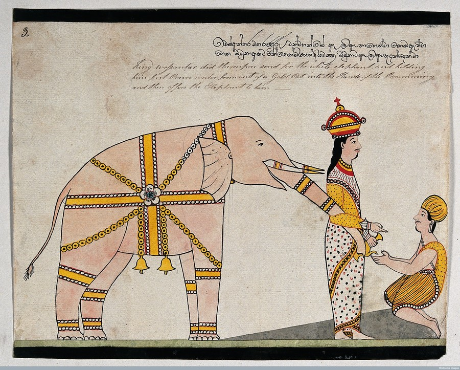 Prince Vessantara offers an elephant to the seven brahmins from Kalinga.