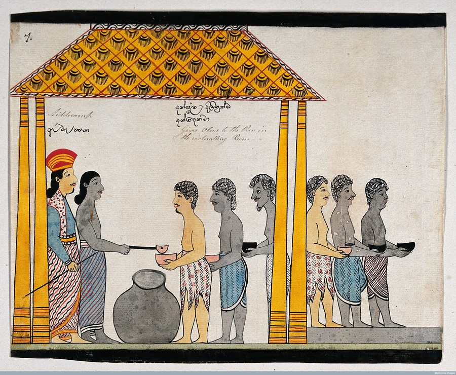 The representative of the people of Jetuttara gives alms to the poor in the victualling rooms.